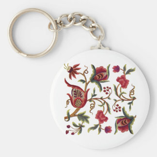 Traditional Jacobean Embroidery Pattern Basic Round Button Keychain
