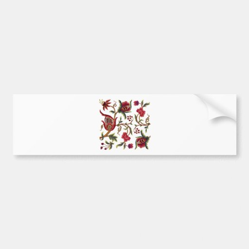 Traditional Jacobean Embroidery Pattern Bumper Sticker