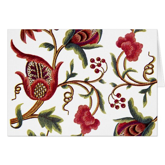 Traditional Jacobean Embroidery Pattern Card