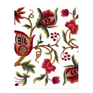 Traditional Jacobean Embroidery Pattern Postcard