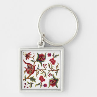 Traditional Jacobean Embroidery Pattern Silver-Colored Square Keychain