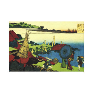 Traditional Japanese Art: Lovers In Bay of Naniwa Canvas Print