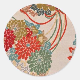 Traditional Japanese fabric design Classic Round Sticker