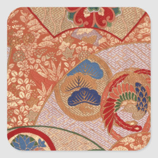 Traditional Japanese fabric design Square Sticker