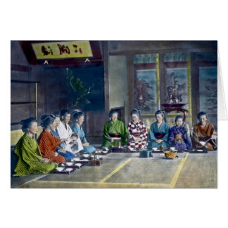 Traditional Japanese Family Meal Hand Tinted 家族 Card