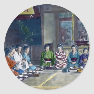 Traditional Japanese Family Meal Hand Tinted 家族 Classic Round Sticker