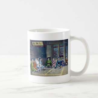 Traditional Japanese Family Meal Hand Tinted 家族 Coffee Mugs