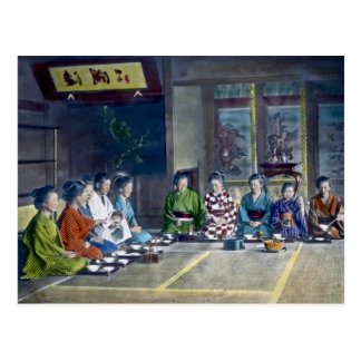 Traditional Japanese Family Meal Hand Tinted 家族 Postcard