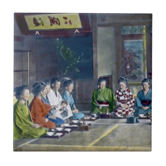 Traditional Japanese Family Meal Hand Tinted 家族 Tile
