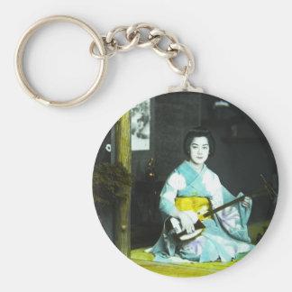 Traditional Japanese Geisha Musician Serving Tea Basic Round Button Keychain