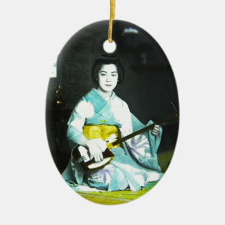 Traditional Japanese Geisha Musician Serving Tea Ceramic Ornament