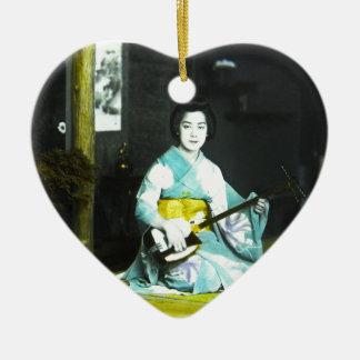 Traditional Japanese Geisha Musician Serving Tea Ceramic Ornament
