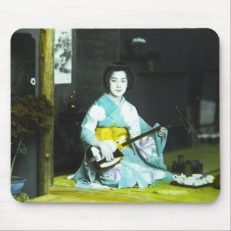 Traditional Japanese Geisha Musician Serving Tea Mouse Pad