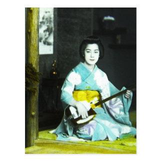 Traditional Japanese Geisha Musician Serving Tea Postcard