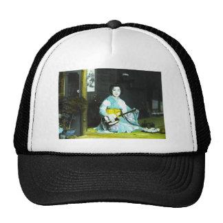Traditional Japanese Geisha Musician Serving Tea Trucker Hat