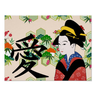 Traditional Japanese Geisha Poster