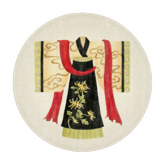 Traditional Japanese Kimono with Floral Print Cutting Board