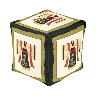 Traditional Japanese Kimono with Floral Print Cube Pouf