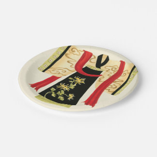 Traditional Japanese Kimono with Floral Print Paper Plate