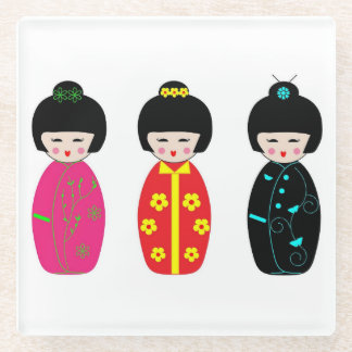 Traditional Japanese Kokeshi Geisha Dolls Glass Coaster