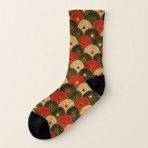 Traditional Japanese Lotus Pattern Socks
