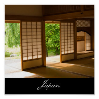 Traditional Japanese Room and Garden Poster