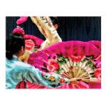 Traditional Korean Fan Dance Postcard