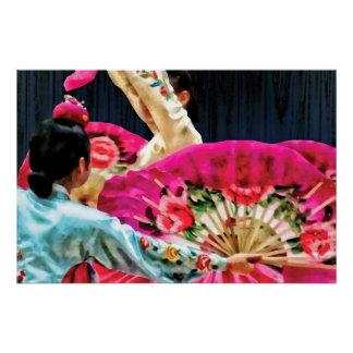 Traditional Korean Fan Dance Poster