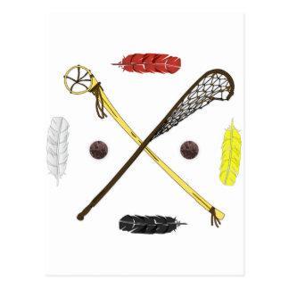 Traditional Lacrosse sticks Postcard