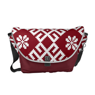 Traditional Latvian Red Design pattern Auseklis Courier Bag
