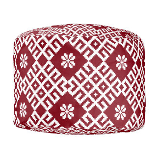 Traditional Latvian Red Design pattern Auseklis Pouf