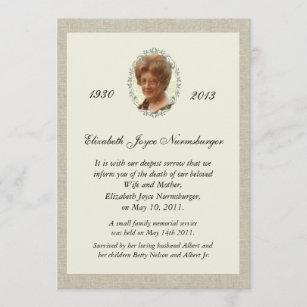 Death invitations zazzle traditional linen look photo death announcement stopboris Gallery