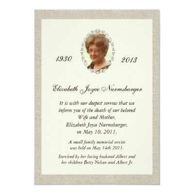Traditional death announcement card zazzle stopboris Choice Image