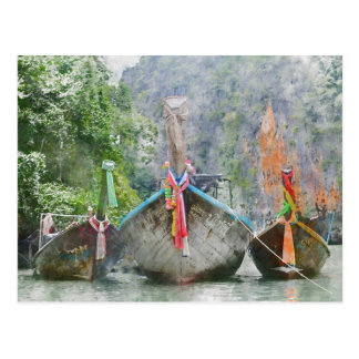 Traditional Long Boat in Thailand Postcard