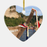 Traditional long tailed boat at Krabi, Thailand Christmas Tree Ornament
