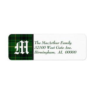 Traditional MacArthur Tartan Plaid Monogram Custom Return Address Label