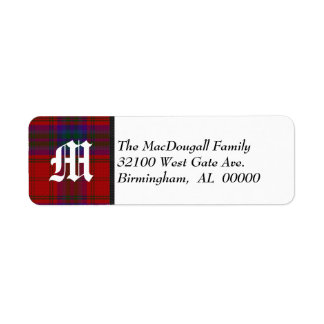 Traditional MacDougall Tartan Plaid Monogram Label