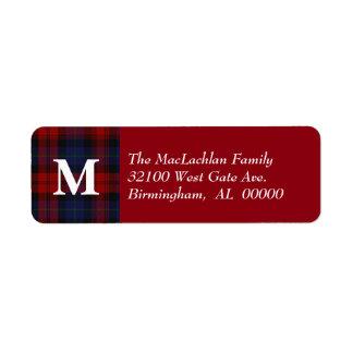Traditional MacLachlan Tartan Plaid Monogram Return Address Label