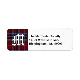 Traditional MacTavish Tartan Plaid Monogram Return Address Label