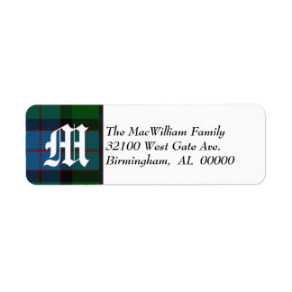 Traditional MacWilliam Tartan Plaid Monogram Label