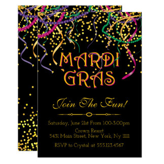 mardi gras party invitations  announcements  zazzle, Party invitations