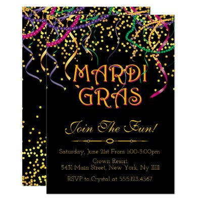 Mardi Gras Theme Birthday Party Invitation Zazzlecom