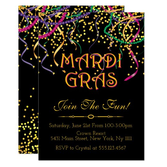 Traditional Mardi Gras Invitations Zazzlecom