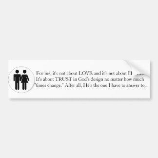 Traditional Marriage Car Bumper Sticker