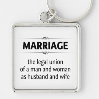 Traditional Marriage Silver-Colored Square Keychain