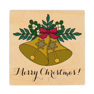 Traditional Merry Christmas Gold Bells and Red Bow Wood Coaster