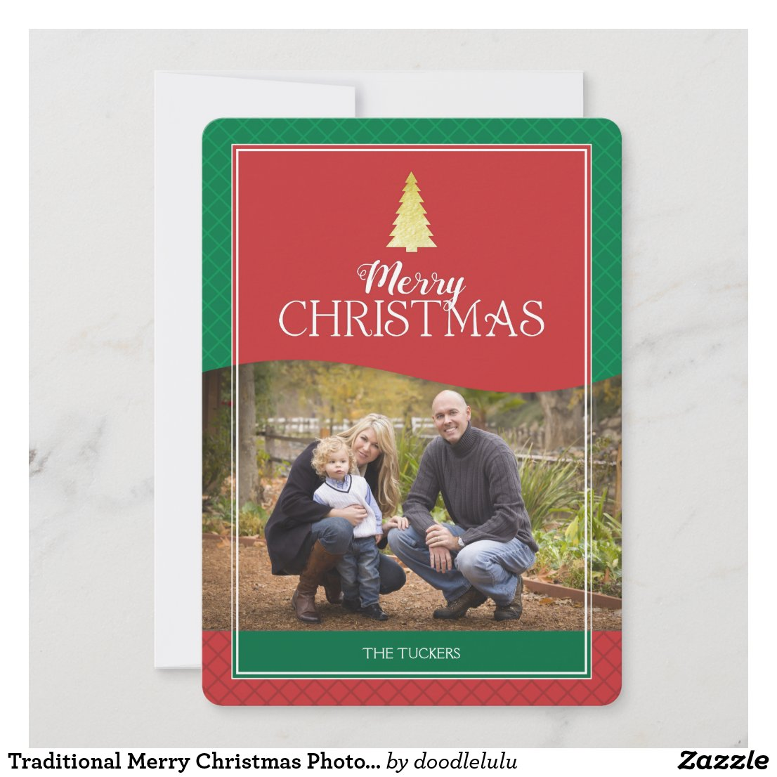 Traditional Merry Christmas Photo Card - Gold Tree