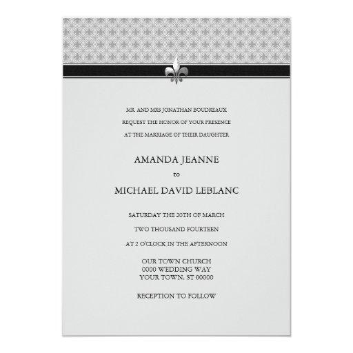 Traditional Modern Fleur de Lis Pattern Wedding 5x7 Paper Invitation Card
