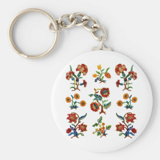 Traditional Monmouth Jacobean Embroidery Basic Round Button Keychain