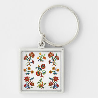 Traditional Monmouth Jacobean Embroidery Silver-Colored Square Keychain